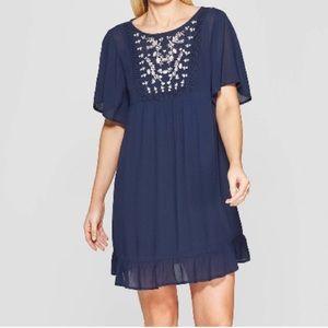 Knox Rose gauzy boho Embroidered mini dress